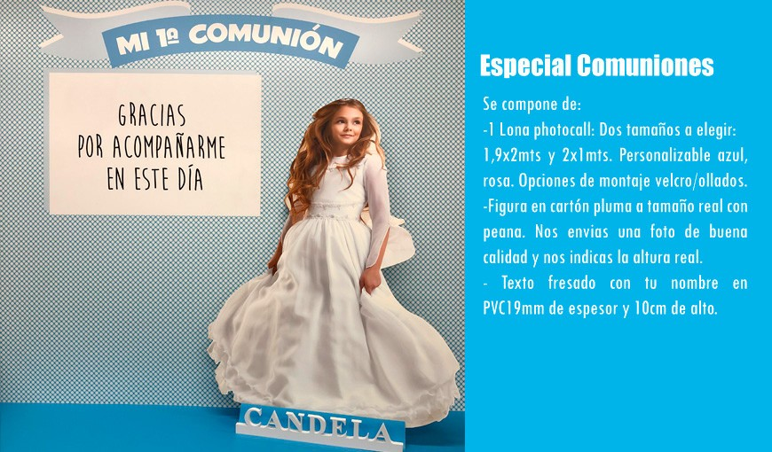 Lona Photocall, Figura en Cartón y Texto Fresado